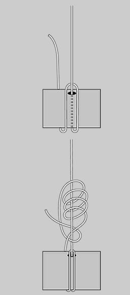 图解主线与鱼线轮连结方法(主线与线杯的打结方法